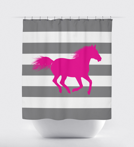 Custom Horse Shower Curtain with Rugby Stripes - Equestrian Gift for Girls and Boys - Custom Teen Gift - Titanium and Hot Pink