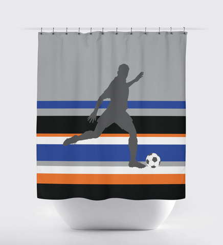 Custom Soccer Shower Curtain for Boys and Teens - Sports Bathroom Decor - Striped - Navy Blue, Orange, Royal Blue, Black and White
