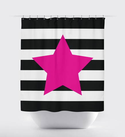 Custom striped shower curtain with star for girls and teens - dance - cheer - musical theatre - performing arts - theater - acting - film actor - music - singer - white, black and hot pink stripes