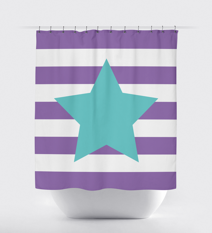Custom striped shower curtain with star for girls and teens - dance - cheer - musical theatre - performing arts - theater - acting - film actor - music - singer - white, pool, amethyst purple stripes