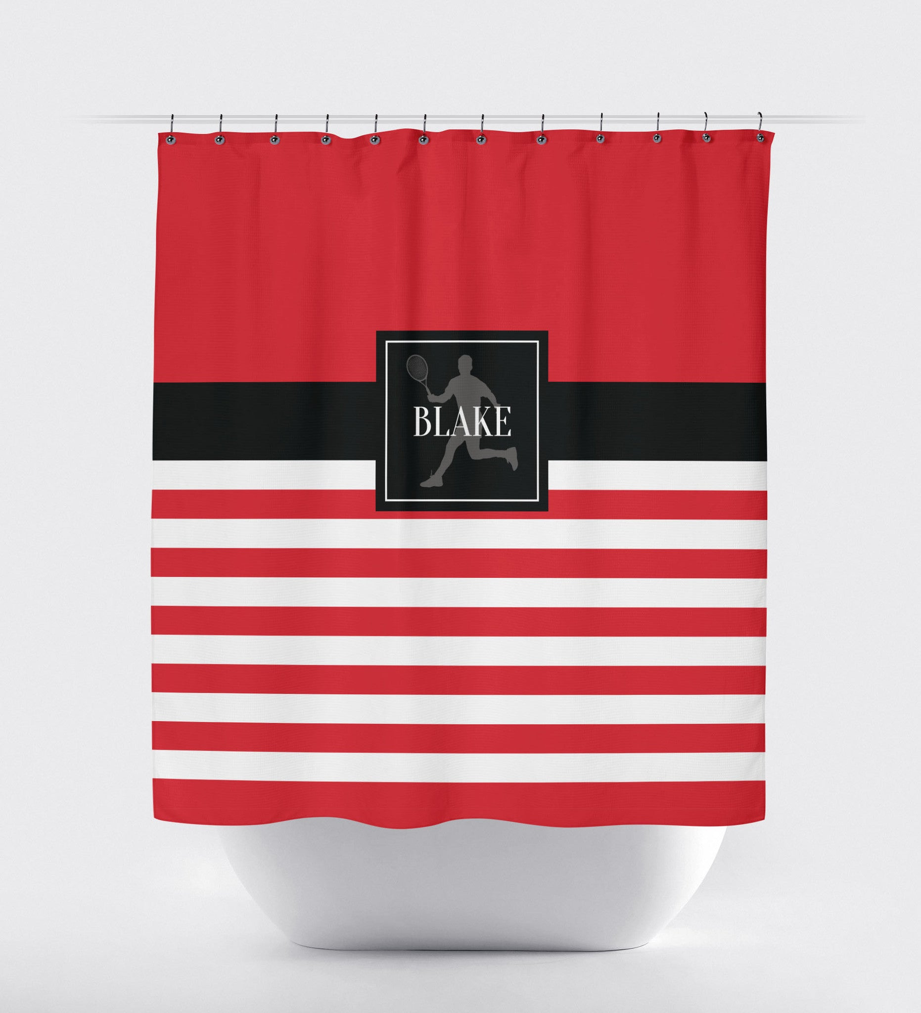red and white striped shower curtain. personalized tennis shower curtain - custom rugby striped bathroom decor sports gift for boys, red and white