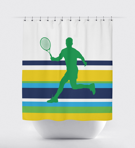 Custom Tennis Shower Curtain for Boys and Teens - Sports Bathroom Decor - Striped - Turquoise, Navy Blue, Yellow, Green