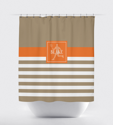 Personalized Tennis Shower Curtain - Custom Rugby Striped Bathroom Decor - Sports Gift for Boys, Girls, Kids, Teen Tennis Players - Orange, Tan