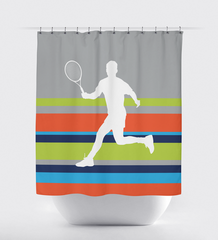 Custom Tennis Shower Curtain for Boys and Teens - Sports Bathroom Decor - Striped - Navy Blue, Orange, Turquoise, Lime Green, Grey