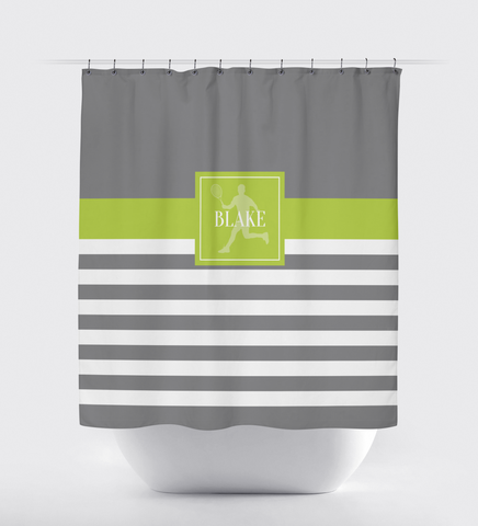Personalized Tennis Shower Curtain - Custom Rugby Striped Bathroom Decor - Sports Gift for Boys, Girls, Kids, Teen Tennis Players - Grey, Lime Green