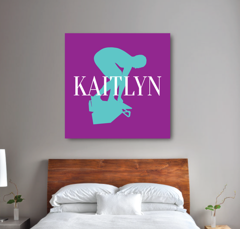 Custom Swimming Canvas for Girls - Swim Teem Gift for Teens - Female Swimmers - White, Purple, Pool