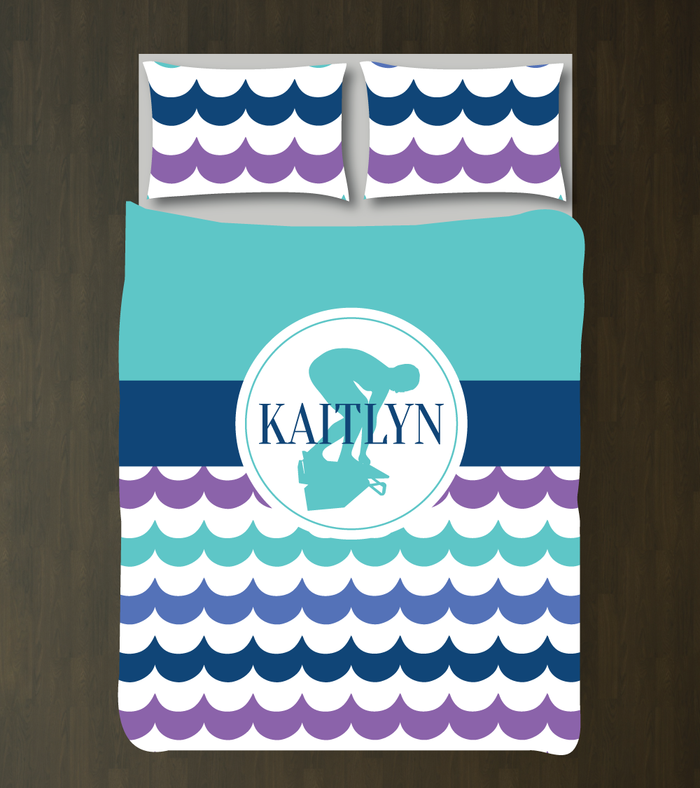Blue and purple bedding for girls -  Custom Swimming Bedding Set With Scallop Waves Gift For Girls And Teen Athletes Swimmer