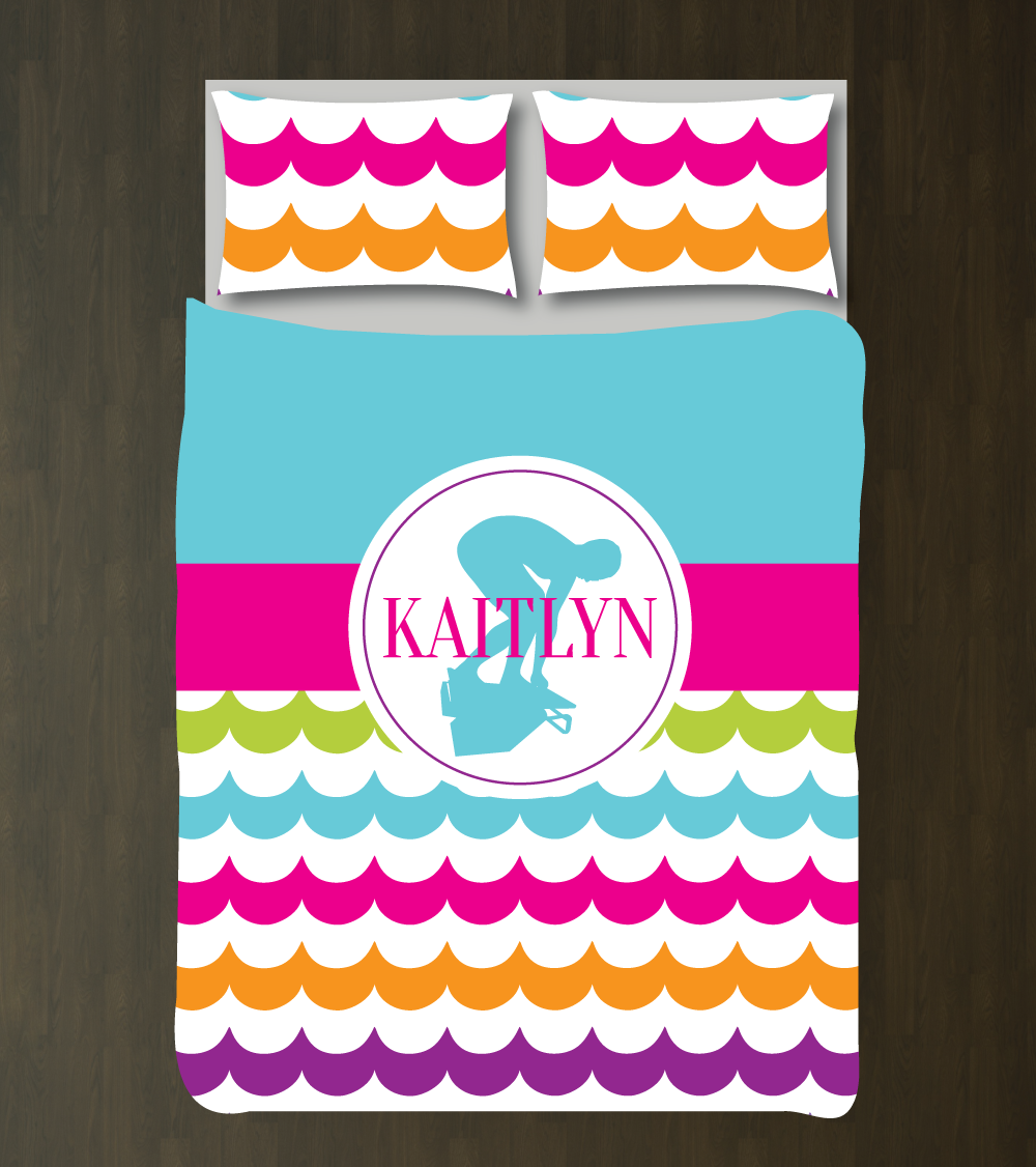 custom swimming bedding set for girls & teens - scallop – shop