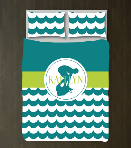 Custom Swimming Bedding Set with Scallop Waves - Gift for Girls and Teen Athletes - Swimmer - Swim Themed Bedroom Decor - High School Sports Team - White, Teal, Lime Green