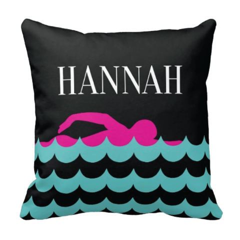 Scallop Wave Throw Pillow with Monogram Name for Girls - Swimmer - Swimming - Swim Team - Preppy Sports Gift for Teens and Kids - White, Pool Blue, Turquoise, Hot Pink, Black