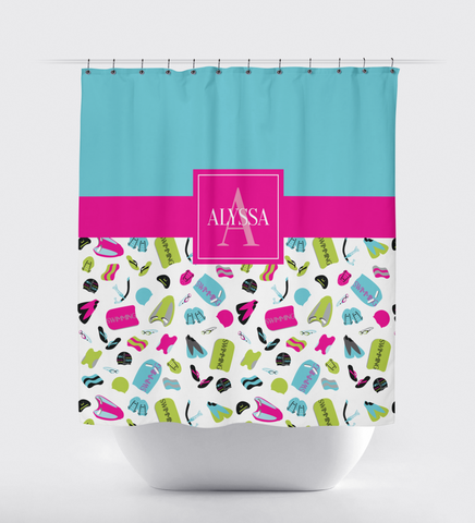 Swimming Shower Curtain - Boy or Girl Swimmer -Male - Female -Teen and Kids - Children - Sports Swim Team Gift - Bathroom Decor - White, Grey, Hot Pink, Aqua, Lime Green