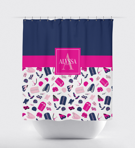 Swimming Shower Curtain - Boy or Girl Swimmer -Male - Female -Teen and Kids - Children - Sports Swim Team Gift - Bathroom Decor - White, Grey, Hot Pink, Light Pink, Navy Blue