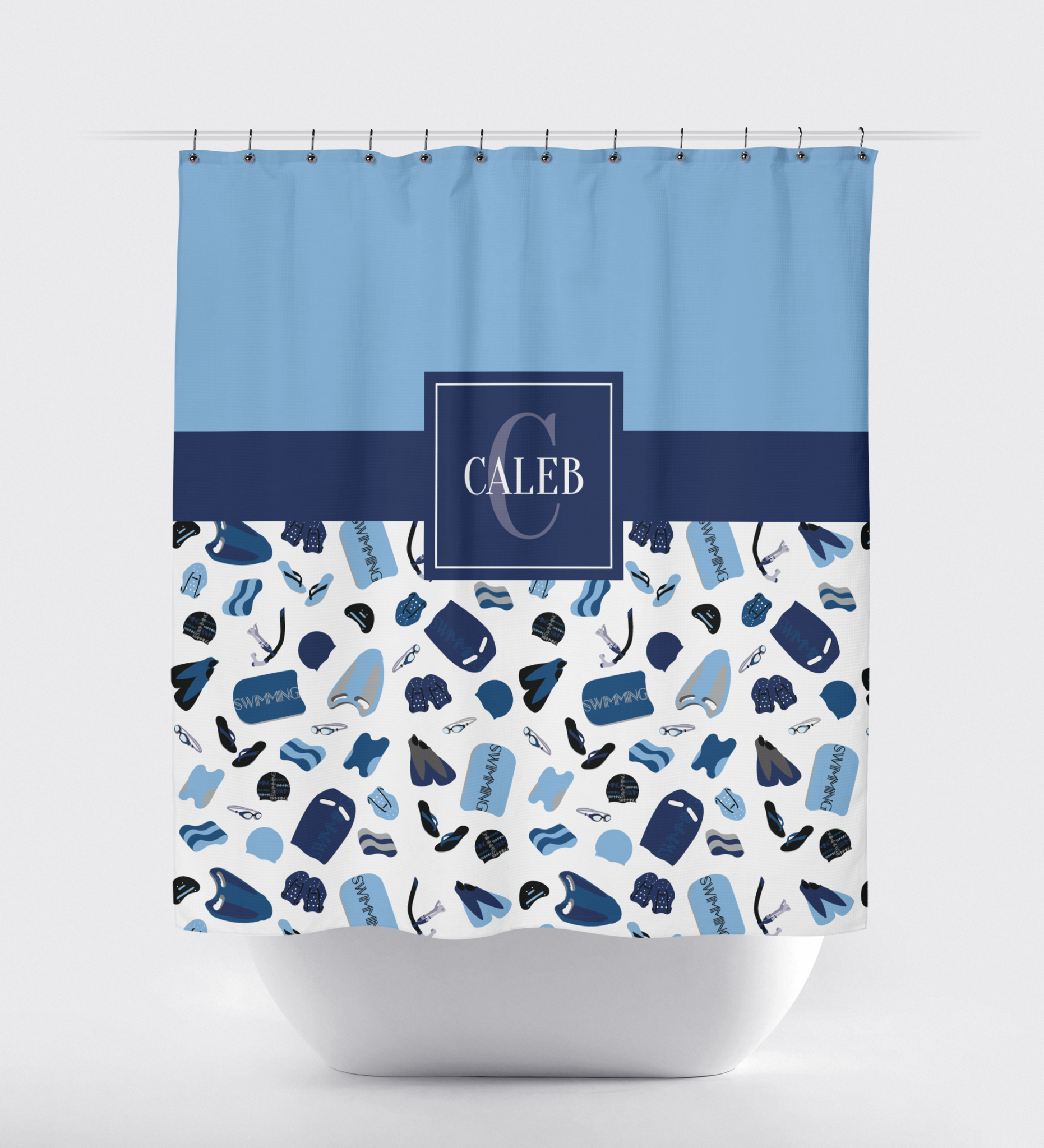 Yellow and blue shower curtain -  Swimming Shower Curtain Boy Or Girl Swimmer Male Female Teen And Kids