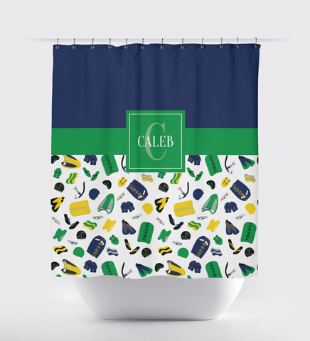 Swimming Shower Curtain - Boy or Girl Swimmer -Male - Female -Teen and Kids - Children - Sports Swim Team Gift - Bathroom Decor - White, Grey, Yellow, Green, Navy Blue