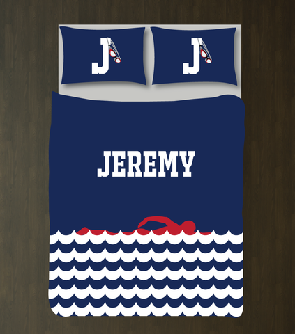 Personalized Swimming Bedding for Girls and Boys - Duvet Cover and Shams - Scallop Waves - Swimmer Silhouette - High School Swim Team - Monogram Name and Initial - White, Navy Blue, Red