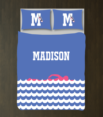 Personalized Swimming Bedding for Girls and Boys - Duvet Cover and Shams - Scallop Waves - Swimmer Silhouette - High School Swim Team - Monogram Name and Initial - White, Periwinkle Blue, Bubble Gum Pink