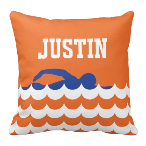 Scallop Wave Throw Pillow with Monogram Name for Boys and Girls - Swimmer - Swimming - Swim Team - Preppy Sports Gift for Teens and Kids - White, Royal Blue, Orange