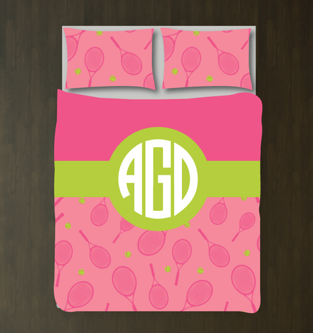 Tennis Themed Bedding Set for Girls and Teens - Rackets and Balls - Circle Monogram - Preppy Dorm Room Decor - Pink, Lime Green and White
