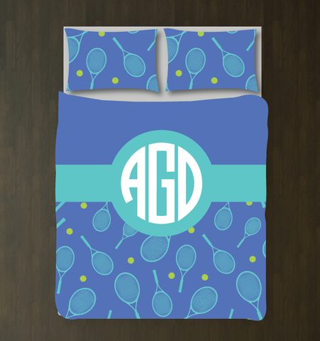 Tennis Themed Bedding Set for Girls and Teens - Rackets and Balls - Circle Monogram - Preppy Dorm Room Decor - Lime Green, Pool, Periwinkle
