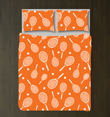 Tennis Racket and Tennis Ball Duvet Set - Custom Tennis Bedding for Boys or Girls - Children, Kids and Teens Room Decor - Sports Themed Gift - Orange and White