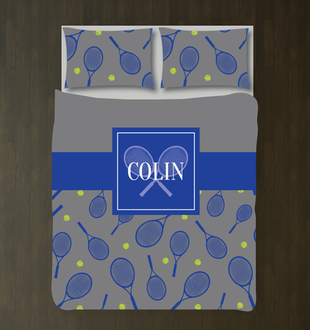 Tennis Themed Custom Duvet - Tennis Bedding for Boys and Teens - Sports Themed Room for Kids - Royal Blue, Bright Chartreuse and Orange