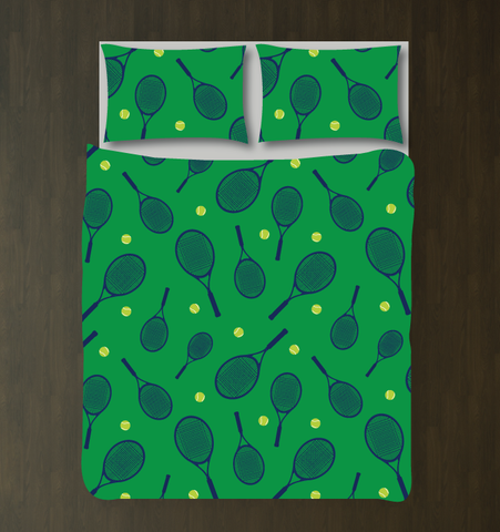 Tennis Racket and Tennis Ball Duvet Set - Custom Tennis Bedding for Boys or Girls - Children, Kids and Teens Room Decor - Sports Themed Gift - Green, Navy and Lime Green