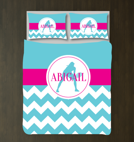 Custom Tennis Themed Chevron Duvet Cover - Tennis Bedding Set for Girls - Bedding for Teens and Girls - Aqua, Hot Pink and White