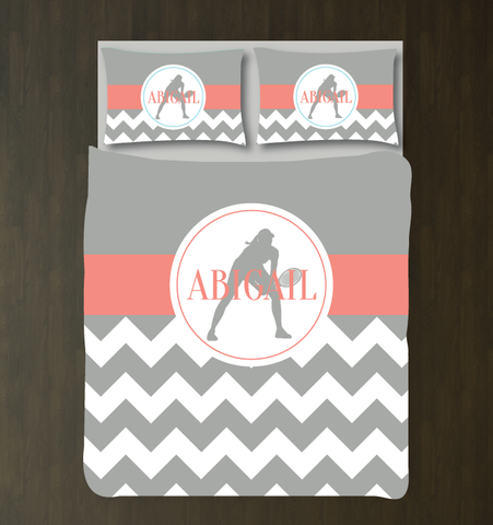 Custom Tennis Themed Chevron Duvet Cover - Tennis Bedding Set for Girls - Bedding for Teens and Girls - Grey, Coral and White