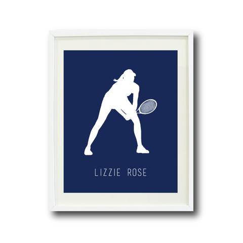 Tennis Silhouette Art Print With Name | Navy and White | Choose ANY Colors