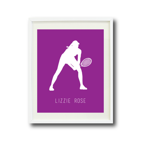 Tennis Silhouette Art Print With Name | Purple and White | Choose ANY Colors