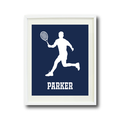 Tennis Player Art Print - Boys Room Decor - Sports Gift for Teen Athlete - White and Navy Blue