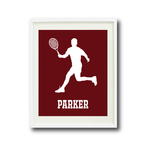 Tennis Player Art Print - Boys Room Decor - Sports Gift for Teen Athlete - White and Burgundy