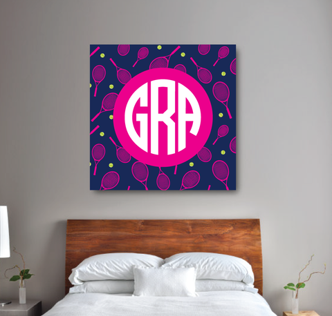 Circle Monogram Custom Tennis Canvas Wall Art - Teen Girl Wall Art - Dorm Room and Sorority Decor - Navy Blue, Hot Pink, White, Lime Green