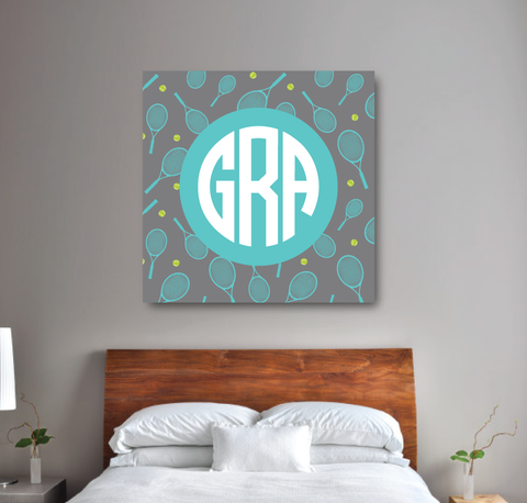 Circle Monogram Custom Tennis Canvas Wall Art - Teen Girl Wall Art - Dorm Room and Sorority Decor - Lime Green, Pool, Grey
