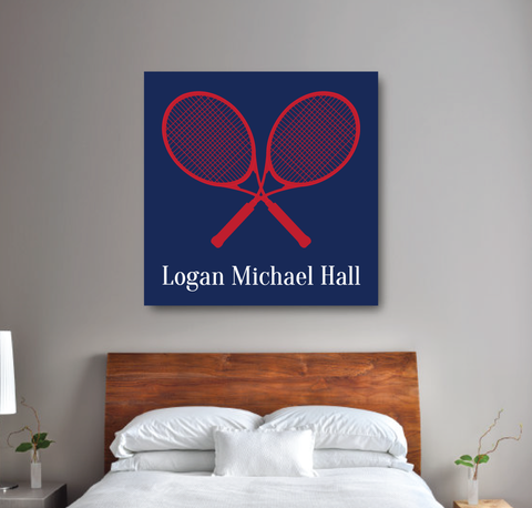 Tennis Racket Personalized Canvas - Custom Tennis Gift for Boys - Navy Blue, Red and White