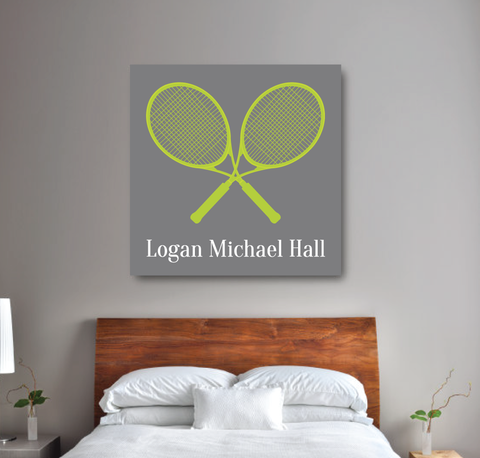 Tennis Racket Personalized Canvas - Custom Tennis Gift for Boys - Grey and Lime Green