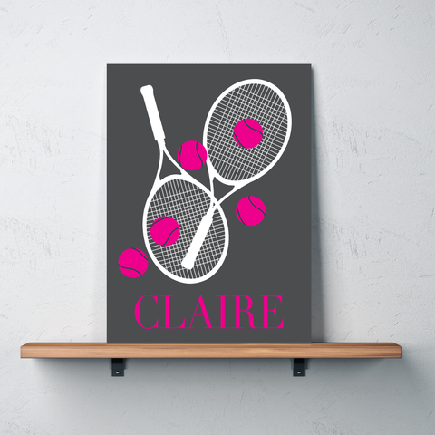 Custom Tennis Canvas with Rackets and Balls - Personalized Tennis Themed Gifts for Boys, Girls, Kids and Teens - Charcoal Grey, White, Hot Pink