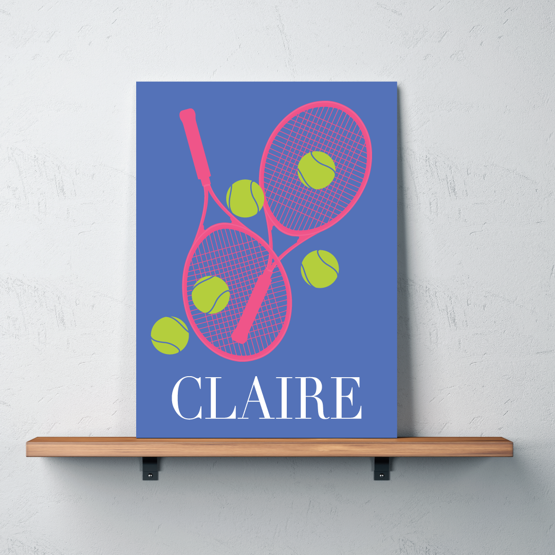 ... Custom Tennis Canvas with Rackets and Balls - Personalized Tennis Themed Gifts for Boys Girls ... & Custom Canvas for Female Tennis Player - Girlu0027s Name u2013 Shop Wunderkinds