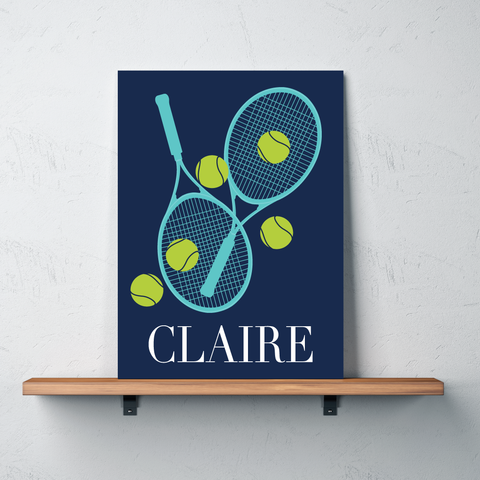 Custom Tennis Canvas with Rackets and Balls - Personalized Tennis Themed Gifts for Boys, Girls, Kids and Teens - Bright Chartreuse, White, Pool, Navy Blue