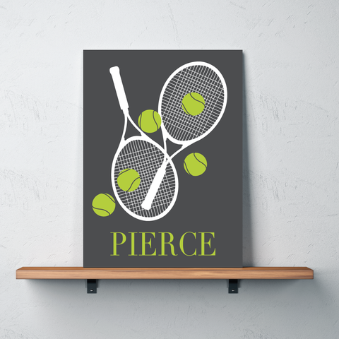Custom Tennis Canvas with Rackets and Balls - Personalized Tennis Themed Gifts for Boys, Girls, Kids and Teens - Bright Chartreuse, White, Charcoal Grey