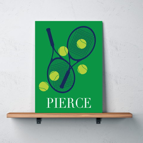 Custom Tennis Canvas with Rackets and Balls - Personalized Tennis Themed Gifts for Boys, Girls, Kids and Teens - Bright Chartreuse, White, Navy, Green