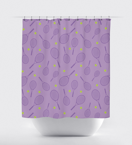 Custom Tennis Balls and Rackets Shower Curtain for Boys and Girls - Sports Bathroom Decor for Teens - Lime Green, Lavender, Light Purple