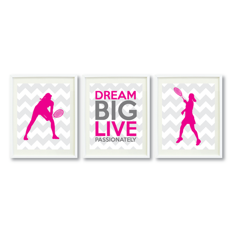 Tennis Dream Big Live Passionately Print Set - Sports Gift for Girls - Hot Pink and Grey