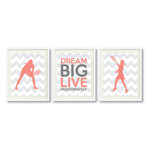 Tennis Dream Big Live Passionately Print Set - Sports Gift for Girls - Grey and Coral