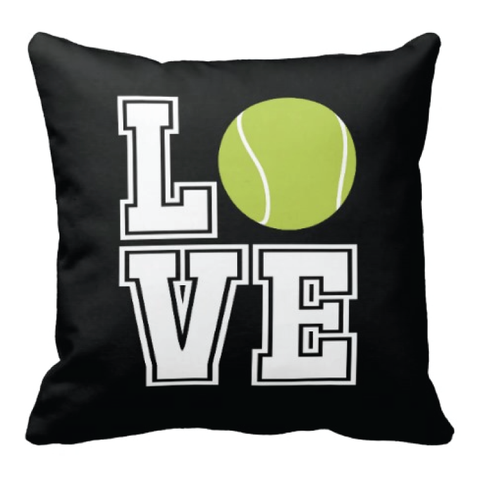 Tennis LOVE Pillow for boys and girls - Tennis team gift - Male and Female Tennis Players - White, Bright Chartreuse, Black