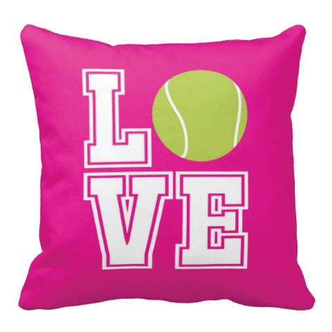Tennis LOVE Pillow for boys and girls - Tennis team gift - Male and Female Tennis Players - White, Bright Chartreuse, Hot Pink