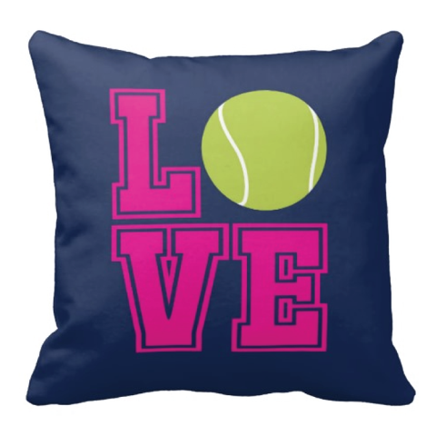 Tennis LOVE Pillow for boys and girls - Tennis team gift - Male and Female Tennis Players - Hot Pink, Navy Blue, Bright Chartreuse,