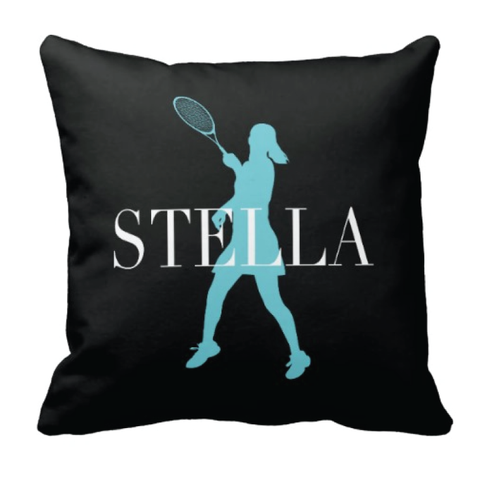 Custom Tennis Pillow - Silhouette and Monogrammed Name - Sports Gift for Girls - White, Aqua and Black