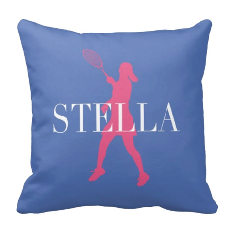 Custom Tennis Pillow - Silhouette and Monogrammed Name - Sports Gift for Girls - White, Periwinkle and Bubble Gum Pink