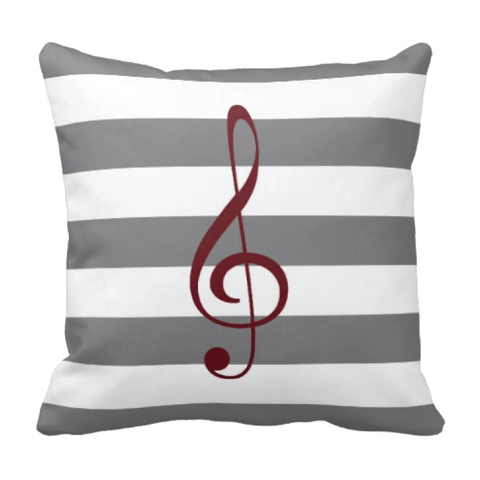 Custom Rugby Striped Treble Clef Throw Pillow for Teens and Kids - Music Themed Bedding and Room Decor for Boys and Girls - White, Titanium Grey, Burgundy